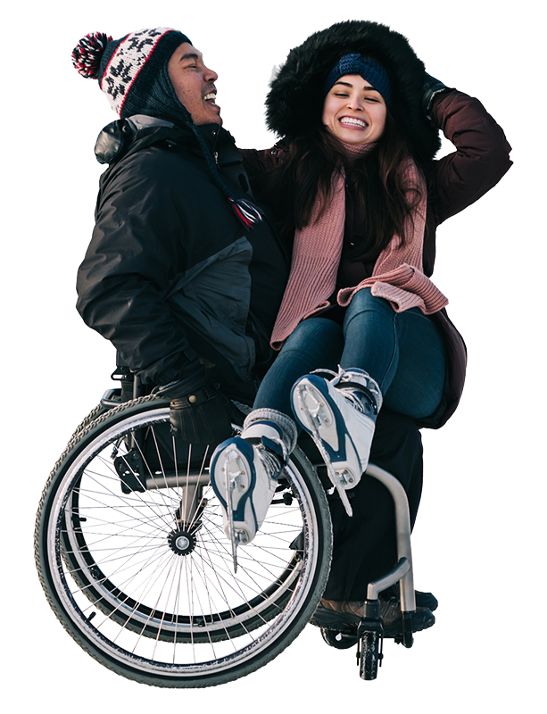 image of a man and woman in a wheelchair laughing